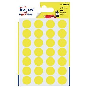Étiquettes colorées rondes Avery PSA15J, 15 mm, jaunes, les 168 étiquettes