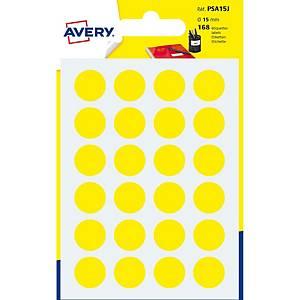 Etiketten Avery Zweckform PSA15J, 15 mm, rund, gelb, Packung à 168 Stück