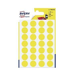 Avery PSA15J Dot Lab Dia15mm Yellow Pk168