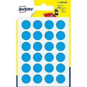 Étiquettes Avery Zweckform PSA15B, 15 mm, rondes, bleu, paq. 168unités