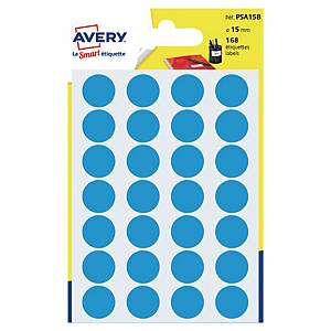 Barevné etikety Avery, Ø 15 mm, modrá barva, 168 etiket/balení