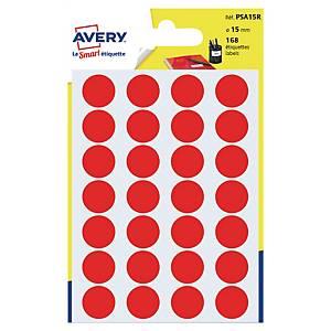 Étiquettes colorées rondes Avery PSA15R, 15 mm, rouges, les 168 étiquettes