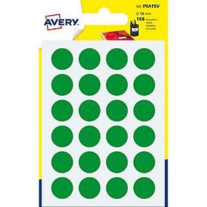 Étiquettes Avery Zweckform PSA15V, 15 mm, rondes, vert, paq. 168unités