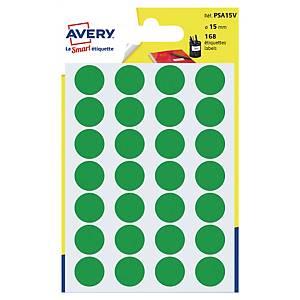 Barevné etikety Avery, Ø 15 mm, zelená barva, 168 etiket/balení