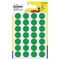 Étiquettes colorées rondes Avery PSA15V, 15 mm, vertes, les 168 étiquettes