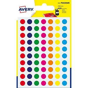 Étiquettes Avery Zweckform PSA08MX, 8 mm, rondes, assort., paq. 420unités