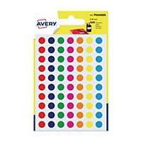 Étiquettes colorées rondes Avery PSA08MX, 8 mm, assorties, les 420 étiquettes