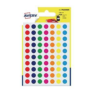 Avery PSA08MX ronde gekleurde etiketten, 8 mm, assorti, per 420 etiketjes