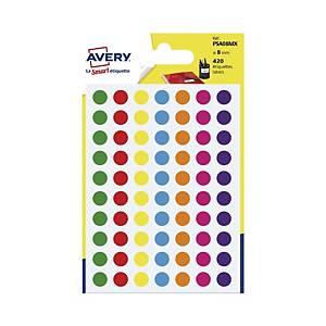 Kolorowe etykiety do zaznaczania AVERY ZWECKFORM kółka 8 mm, mix kolorów