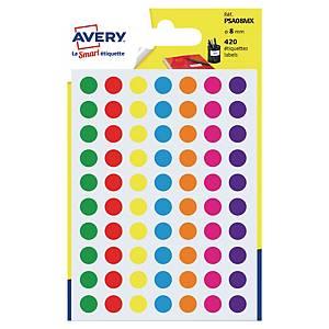 Runda etiketter Avery PSA08MX, Ø 8mm, utvalda färger, förp. med 420 st.