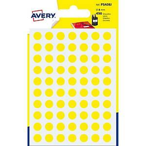 Étiquettes Avery Zweckform PSA08J, 8 mm, rondes, jaune, paq. 490unités