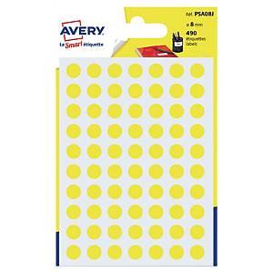 Étiquettes colorées rondes Avery PSA08J, 8 mm, jaunes, les 490 étiquettes