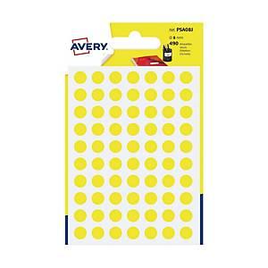 Kolorowe etykiety do zaznaczania AVERY ZWECKFORM kółka 8 mm, żółte