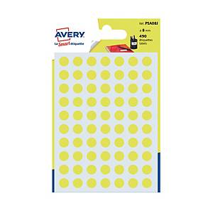 Avery Dot Label Yellow  8mm - Pack of 490