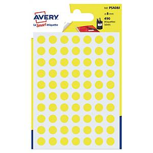 Farebné etikety Avery, Ø 8 mm, žltá farba, 490 etikiet/balenie