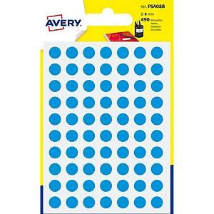 Étiquettes Avery Zweckform PSA08B, 8 mm, rondes, bleu, paq. 490unités
