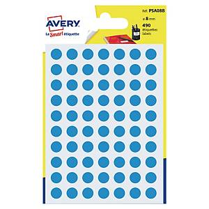 Runda etiketter Avery PSA08B, Ø 8mm, blå, förp. med 490 st.