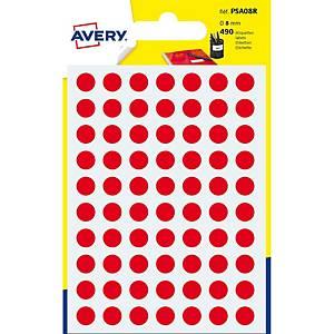 Étiquettes Avery Zweckform PSA08R, 8 mm, rondes, rouge, paq. 490unités