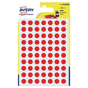 Runde etiketter Avery PSA08R, Ø 8 mm, rød, pakke a 490 stk.