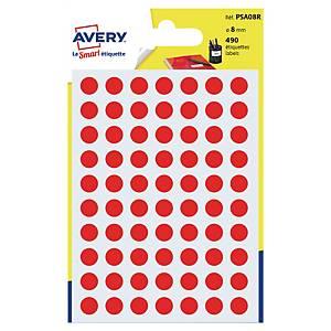 Étiquettes colorées rondes Avery PSA08R, 8 mm, rouges, les 490 étiquettes