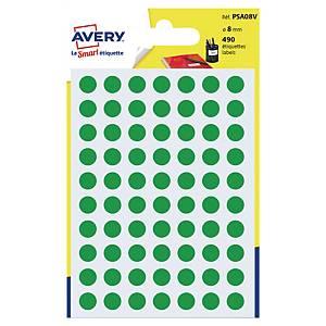 Étiquettes colorées rondes Avery PSA08V, 8 mm, vertes, les 490 étiquettes