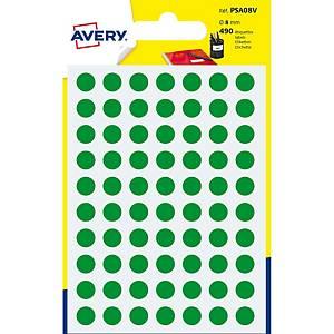 Étiquettes Avery Zweckform PSA08V, 8 mm, rondes, vert, paq. 490unités