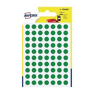 Kolorowe etykiety do zaznaczania AVERY ZWECKFORM kółka 8 mm, zielone