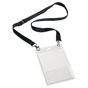 Namnskylt Durable, med textilhalsband, A6, 2 säkerhetslås, förp. med 10 st.