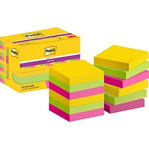 Notes Post-it® Super Sticky 622-SSRO, 47,6x47,6mm, couleurs Rio, paquet de 12