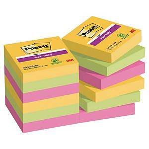 3M Post-it® 621 Super Sticky bločky 47,6x47,6 mm, barevné, bal. 12 bločk/90 líst