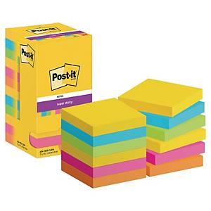 Pack de 12 blocks de 90 notas adhesivas Post-it Super Sticky - colores Río