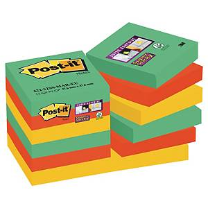 Pack 12 blocos 90 notas adesivas Post-it Super Sticky - cores Marraquexe
