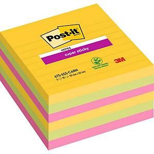 Notes Post-it® Super Sticky 675-SSRO 101x101mm lignées couleurs Rio, paquet de 6