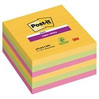 Notatblokk Post-it Super Sticky, Rio, linjert 101 x 101 mm, pakke à 6 blokker