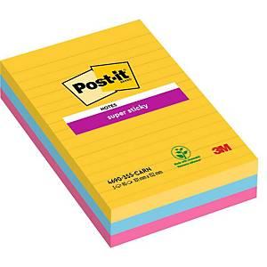 Notes Post-it® Super Sticky 4690SSRO, 102x152mm, ligné couleurs Rio, paquet de 3