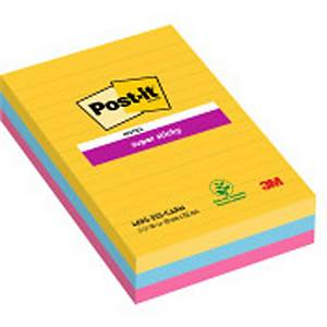 Pack 3 blocos 90 notas adesivas pautadas Post-it Super Sticky - cores Rio