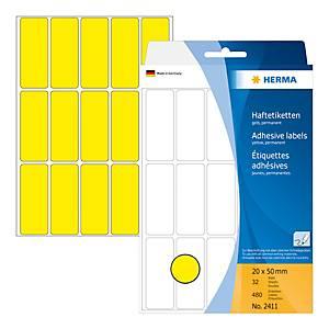 Universal-Etiketten Herma 2411, 20 x 50mm (LxB), gelb, 480 Stück