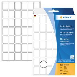 Universal-Etiketten Herma 2380, 16 x 22mm (LxB), weiß, 1344 Stück