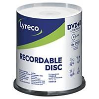 Pack de 100 DVD+R Lyreco - 4,7 Gb