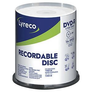 DVD-R Lyreco, 4,7 GB, 1-16X, 100 stk. på spindel