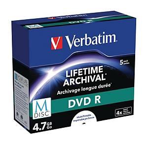 DVD+R M-Disc Verbatim, printbar, 4,7 GB, 1-4X, pakke a 5 stk.