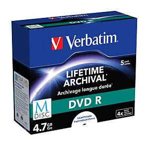 Verbatim M-Disc Dvdr 4X Incase 4.7Gb - Pack Of 5