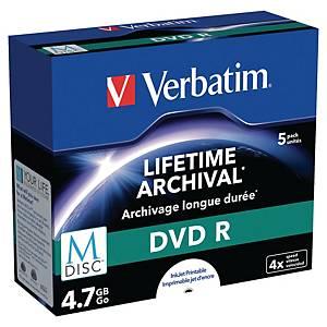 DVD+R M-Disc Verbatim, utskrivbar, 4,7 GB, 1-4X, förp. med 5 st.