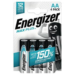 Piles Energizer Max Plus AA, LR6/E91/AM3/Mignon, paq. 4unités