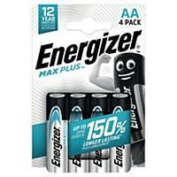 Batterier Energizer Alkaline Max Plus AA, förp. med 4 st.
