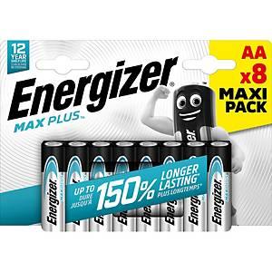 Piles Energizer Max Plus AA, LR6/E91/AM3/Mignon, paq. 8unités