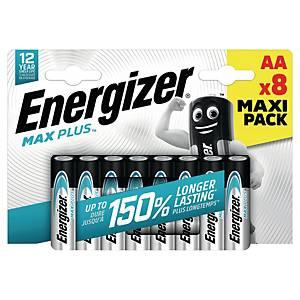 Batterier Energizer Alkaline Max Plus AA, pakke à 8 stk.