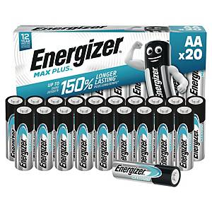 Energizer Max Plus Batterien, AA/LR06, Alkaline, Packung mit 20 Stück