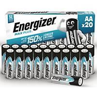Batterier Energizer Alkaline Max Plus AA, pakke a 20 stk.