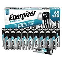 Pack de 20 piles Energizer alcaline Max Plus AA/LR6